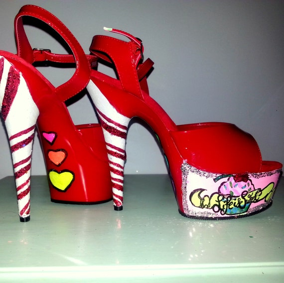 CHERRY BOMB red cupcake costume Katy Perry pin up girl candy cane glitter Pleaser Delight 6 inch platform exotic pole dance stripper heels