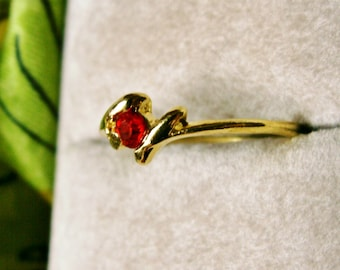 Dainty Red Rhinestone Gold Tone Bypass Ring Size 7.5