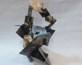 Square abstract metal sculpture perfect for indoor or outdoor use