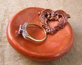 Filigreed heart ring dish, handmade and hand painted