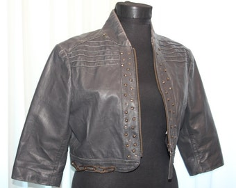 CLEARANCE Vintage 90's leather Biker Rocker , Urban Jacket , Warn Studded Leather Jacket , L size Jacket