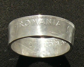 Ladies Silver Coin Ring 1912 Romania 1 Leu, Ring Size 6 1/2 and Double Sided