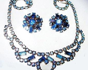 Blue Rhinestone Necklace Earring Demi Set High Fashion Design Silver Metal Vintage Mid Century