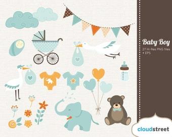 20% OFF baby boy clipart - baby shower & birth announcement clip art - vector baby boy graphic clip art