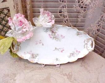 Beautiful, Dainty Oval Porcelain Platter by Haviland, Limoges-Pink Flowers