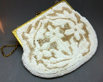 White BEADED Bag by LUJEAN, 1930's or 1940's, Bridal, Evening Bag, Wedding