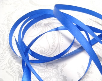 Greek Blue Satin Ribbon 1/4 inch -- 3 yards -- Royal Blue -- 6mm