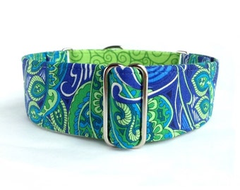 """Lime Paisley Dog Collar - 1"""" or 1.5"""" Blue, Turquoise, and Lime Green Paisley Martingale Collar or Buckle Dog Collar"""