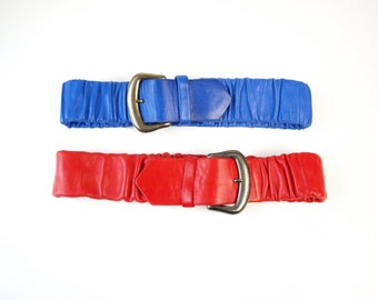 2 80s designer vintage soft leather thick buckle stretch belts women's size S