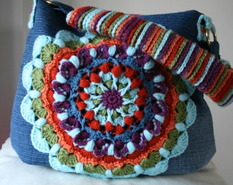 Crochet pattern, crochet bag pattern, crochet color bag pattern, mandala crochet bag pattern upcycled denim bag pattern 200 instant download