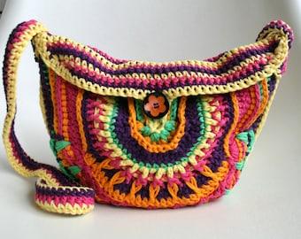 Crochet pattern, crochet bag pattern, crochet color bag pattern, mandala crochet bag pattern 202 Instant download
