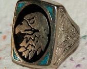 VINTAGE NAVAJO EAGLE Ring Chip Inlay c1965