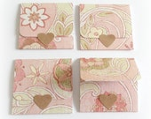 pink and cream floral handmade mini note cards, envelope-style note cards, tri-fold mini cards, to and from gift enclosure, lunchbox notes
