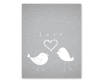 Nursery Art Print Baby playroom downloadable 8x10 Love birds gray and white  - Wall Decor