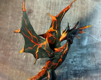 to order Volcano Dragon vivern full poseable leather sculpture amulet totem magic gift