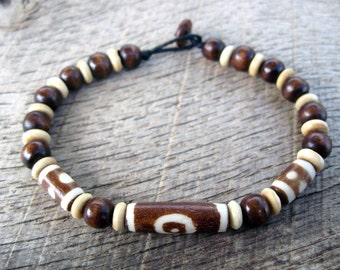 Mens surfer bracelet, bone and wood beads, batiked bone beads, natural materials, tribal style, brown and white, with wood toggle clasp
