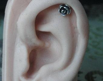 Rose Flower for helix / cartilage earring - single