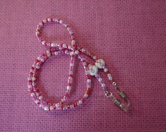 Glasses Leash Breast Cancer Cure Survivor Supporter Pink and White Beads Lanyard