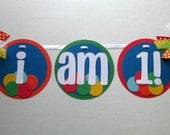 Bouncy Ball I AM 1! High Chair Banner for First Birthday Party Decoration / Photo Prop