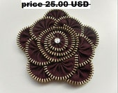 Recycled jewelry, Gift ideas for her, zipper brooch, brown, Flower Brooch, Zipper Pin. Approx 3.2 in/ 8 cm. eco friendly, SALE 30%OFF