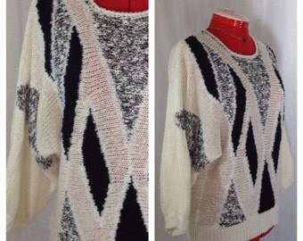 SALE Ice Princess Slouchy Sweater 1980s M/L