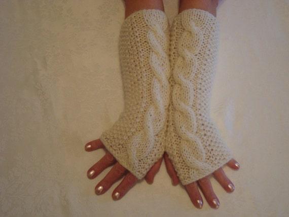 Gloves Knit.Alpaca Ivory Fingerless Gloves. by designbyelena