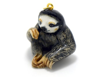 1 - Porcelain Sloth Hand Painted Glaze Ceramic Animal Small Sloth Bead Vintage Jewelry Supplies Little Critterz (CA063)