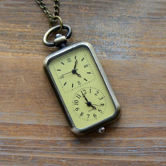 Double Timezone WORKING Pocket Watch Necklace Antique Bronze (BB026)