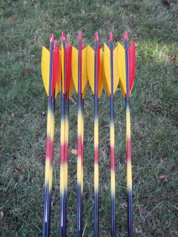 Dark Phoenix archery arrows, 50-55lb, dozen traditional wood archery ...
