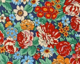 Robert Kaufman - London Calling Lawn - Large Floral Meadow - Red - Cotton Lawn - Choose Your Cut 1/2 or Full Yard