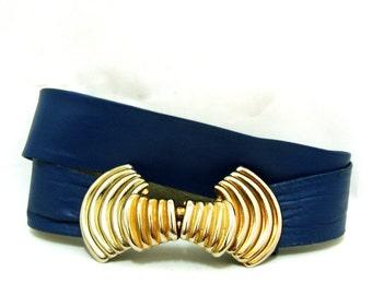 Vintage Royal Blue Leather Belt S M Vtg Gold Striped Wide Waist Belt Small Medium