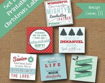 Printable Christmas Scripture Gift Tags | DIY PRINTABLE | Retro Christmas Tags | Bible Verse, Christian Package Labels | Vintage Colors 1