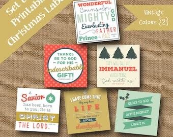 Printable Christmas Scripture Gift Tags | DIY PRINTABLE | Retro Christmas Tags | Bible Verse, Christian Package Labels | Vintage Colors 2