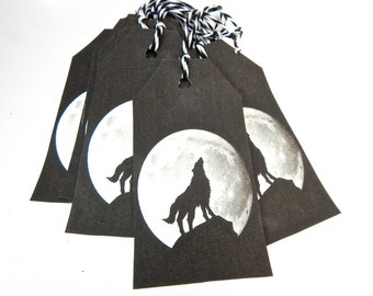 Wolf Gift Tags, Custom Hang Tags, Black and White, Wolf Howling at Moon, Punched, Bakers Twine Gift Tags, Set of 10, Party Favor Tags