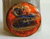 Handmade 1960's Orange & Blue Enamel Brutalist Style Brooch- Modernist Circular Geometric Speckled Artisan Crafted