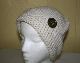 Crochet White Beanie.