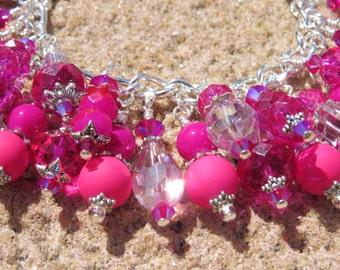 SUMMER PINKS Vibrant Hottest Pink  Charm Bracelet ooak