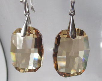 Golden Shadow Graphic Style Crystal Earrings with Sterling Silver Bails and Earwires