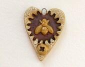 50% OFF I HEART Bees Bead handmade rustic Apiary  honey bee pendant