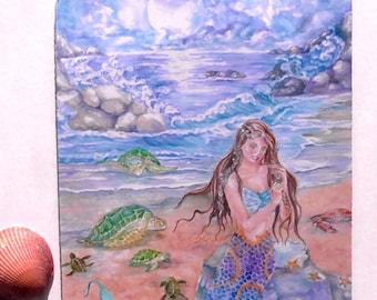 Mermaid Art, Mermaid Magnet, 3in.x 4 inches, Fantasy Design