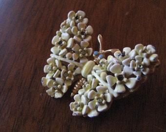 Vintage butterfly brooch.  Yellow enamel.  Broach.  Antique.