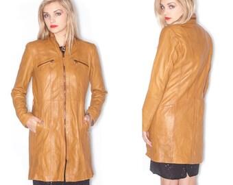 Vintage Brown Dress Length Zip Up Genuine Leather Jacket// Size M