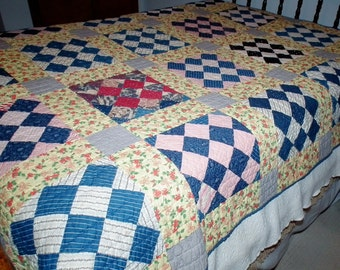 Vintage blue and yellow quilt twin or full size