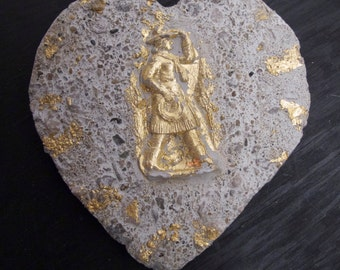 Concrete Hearts: Valentines Day - You gotta have Heart !  3 hearts to chose from;  Gold Cowgirl, Lunar Landscape, Winged wheel