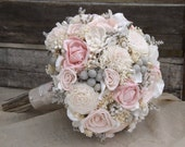 Sola Bouquet Pink Roses Blush Pink with Dried Flowers Silver Brunia Tallow Berries MADE TO ORDER