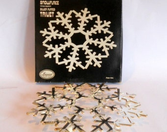 Vintage Silver Trivet Silver plated Snow Flake Wall Hanging Made in Italy Leonard Silver Company