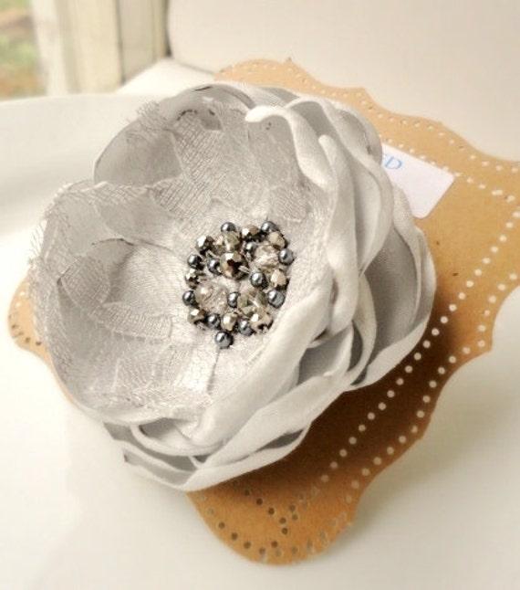 Wedding Hair Flower, Platinum Silver Light Grey Silk Flower Pin, Beaded Crystal Brooch, Satin Organza Lace Pearl Fabric Flower, Gray Bridal
