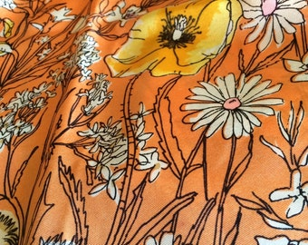 Vintage Vera Floral Scarf Scarves by Vera Large Vera Signature with Ladybug Orange Blue Yellow Mothers Day Gift