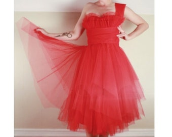 50's Red Tulle PARTY DRESS // Formal Prom Coctail // Handkerchief Hem // Size Extra Small