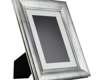 craig frames 85x11 inch brushed silver standing picture frame mat with 6x9 inch single opening 2 wide 2123138511easel1